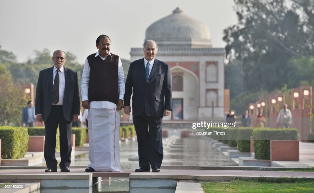 Vice President M. Venkaiah Naidu, Delhi Lieutenant Governor Anil Baijal with Prince Shah Karim Al Hussaini during the inauguration of Sunder nursery near Humayun's Tomb, on February 21, 2018 in New Delhi, India. Shah Karim Al Hussaini, the Aga Khan, is on an 11-day visit to India.