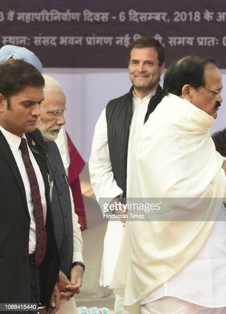Vice President M Venkaiah Naidu Prime Minister Narendra Modi Congress President Rahul Gandhi seen during a event to pay tribute to BR Ambedkar on his...