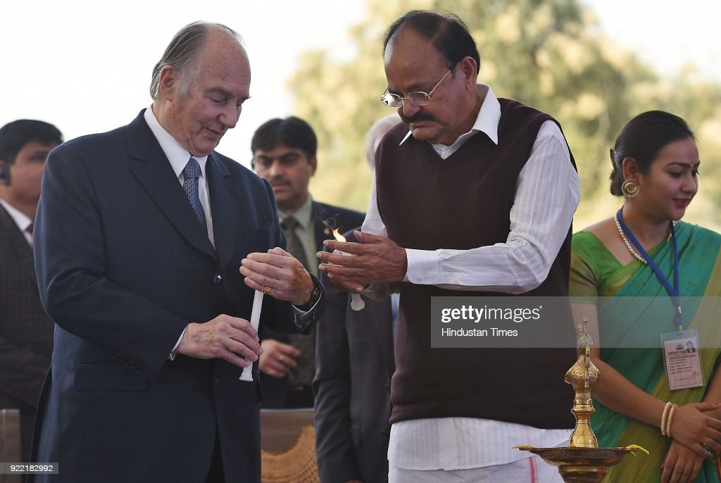 Vice President M. Venkaiah Naidu with Prince Shah Karim Al Hussaini during the inauguration of Sunder nursery near Humayun's Tomb, on February 21, 2018 in New Delhi, India. Shah Karim Al Hussaini, the Aga Khan, is on an 11-day visit to India.