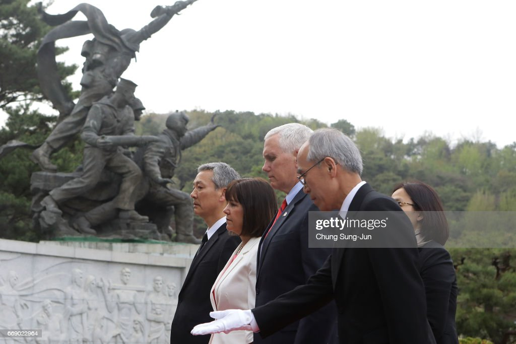 U.S. Vice President Mike and his wife Karen Pence pay a silent tribute at Seoul National Cemetery on April 16, 2017 in Seoul, South Korea. During the three day visit to South Korea, Vice President Pence will spend Easter Sunday with the U.S. and S. Korean troops and their families. He will also meet with Korea's acting president Hwang Kyo-ahn, the national assembly speaker Chung Sye-kyun and local business leaders.