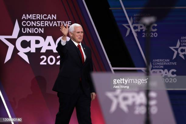 S Vice President Mike Pence acknowledges the crowd during the annual Conservative Political Action Conference at Gaylord National Resort Convention...