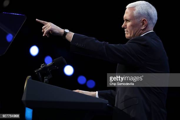 S Vice President Mike Pence address the American Israel Public Affairs Committee's annual policy conference at the Washington Convention Center March...