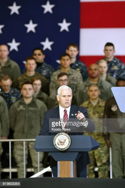 US Vice President Mike Pence addresses American troops at Yokota Air Base in a Tokyo suburb on Feb 8 2018 ==Kyodo