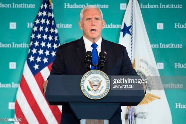 US Vice President Mike Pence addresses the Hudson Institute on the administration's policy towards China in Washington DC on October 4 2018 Pence on...