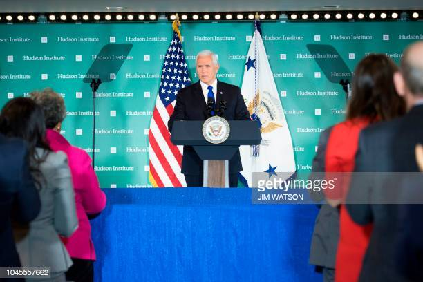 Vice President Mike Pence addresses the Hudson Institute on the administration's policy towards China in Washington DC on October 4 2018 Pence on...