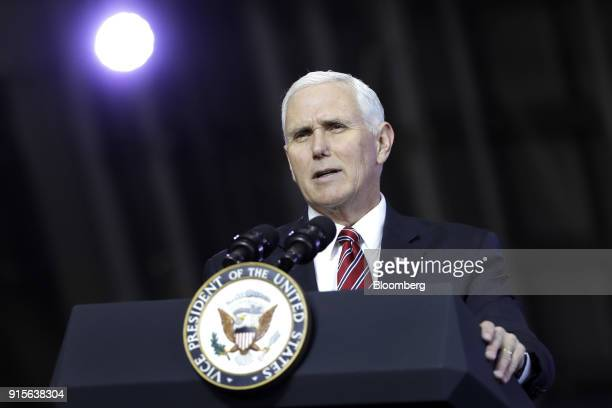 US Vice President Mike Pence addresses US military personnel at US Yokota Air Base in Fussa Tokyo Metropolis Japan on Thursday Feb 8 2018 'We are...