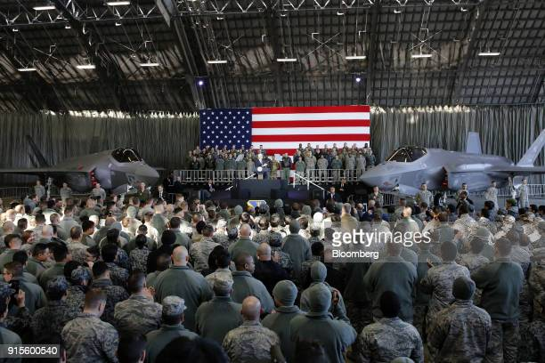 US Vice President Mike Pence addresses US military personnel at Yokota Air Base in Fussa Tokyo Metropolis Japan on Thursday Feb 8 2018 'We are headed...