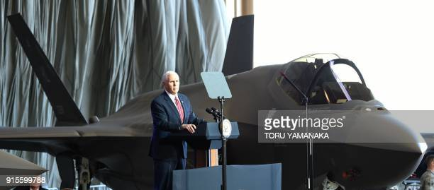 US Vice President Mike Pence addresses US soldiers as he stands next to an F35A fighter jet at Yokota Air Base at Fussa near Tokyo on February 8 2018...