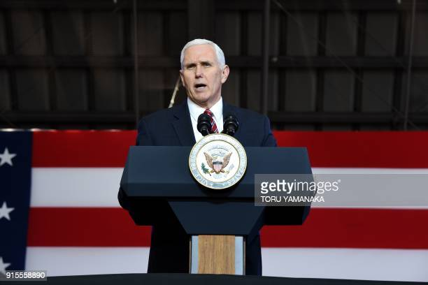 US Vice President Mike Pence addresses US soldiers at Yokota Air Base at Fussa near Tokyo on February 8 2018 Pence is on the last day of a threeday...