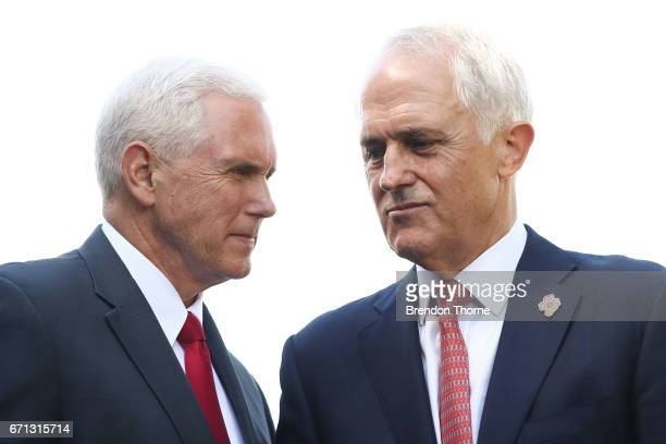 Vice President Mike Pence and Australian Prime Minister Malcolm Turnbull shake hands during a press conference at Kirribilli House on April 22 2017...