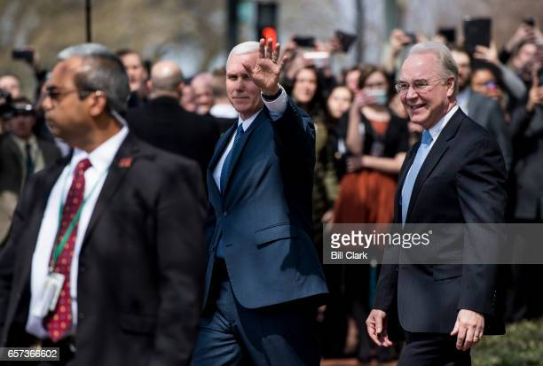 Vice President Mike Pence and Health and Human Services Secretary Tom Price leave their meeting with members of the House Freedom Caucus at the...
