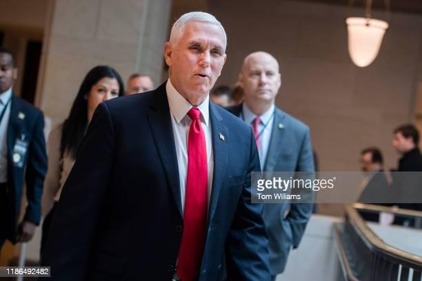 Vice President Mike Pence and his chief of staff Marc Short right arrive for a meeting of the House Republican Conference in the Capitol Visitor...