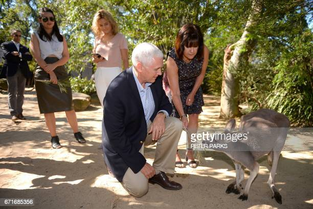 US Vice President Mike Pence and his wife Karen and children Audrey and Charlotte look at a red kangaroo during a visit to Taronga Park Zoo in Sydney...