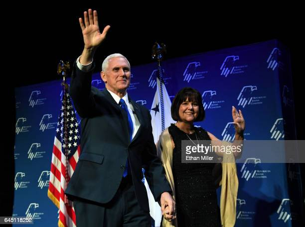 Vice President Mike Pence and his wife Karen Pence are introduced at the Republican Jewish Coalition's annual leadership meeting at The Venetian Las...