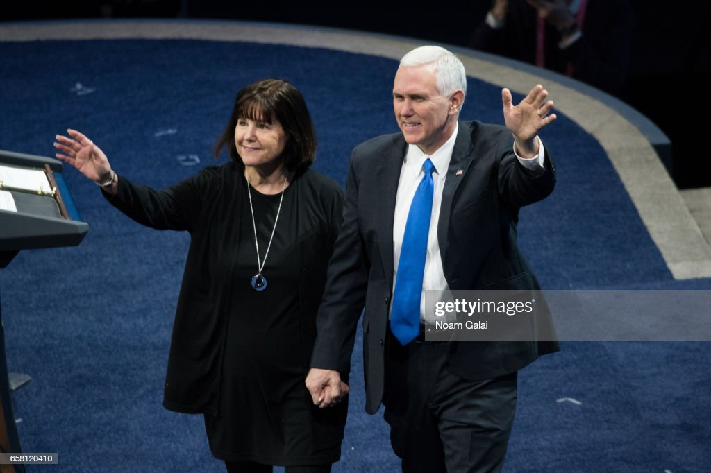 U.S. Vice President Mike Pence (R) and his wife Karen Pence are introduced at the the AIPAC 2017 Convention on March 26, 2017 in Washington, DC.