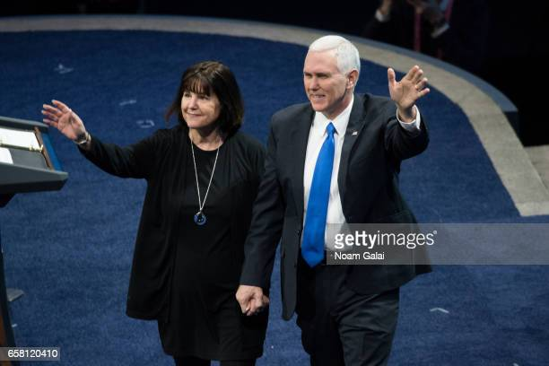Vice President Mike Pence and his wife Karen Pence are introduced at the the AIPAC 2017 Convention on March 26, 2017 in Washington, DC.