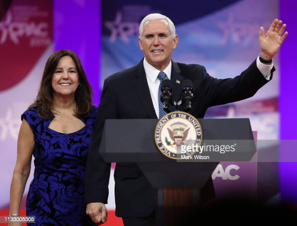 S Vice President Mike Pence and his wife Karen Pence are introduced during CPAC 2019 March 1 2019 in National Harbor Maryland The American...
