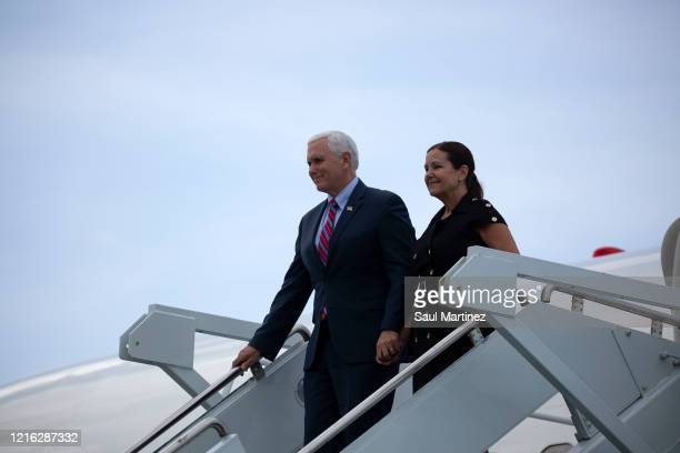 Vice President Mike Pence and his wife Karen Pence arrive at Cape Canaveral Air Force Station for the launch of the SpaceX Falcon 9 rocket with the...