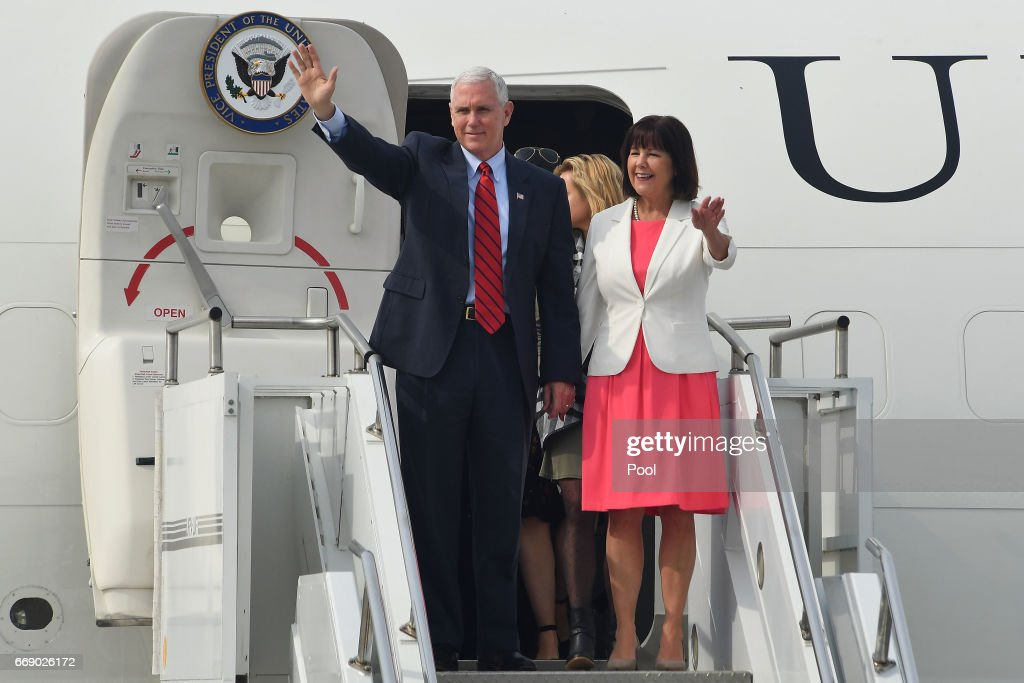 U.S. Vice President Mike Pence and his wife Karen Pence arrive at Osan airbase on April 16, 2017 in Seoul, South Korea. During the three day visit to South Korea, Vice President Pence will spend Easter Sunday with the U.S. and S. Korean troops and their families. He will also meet with Korea's acting president Hwang Kyo-ahn, the national assembly speaker Chung Sye-kyun and local business leaders.