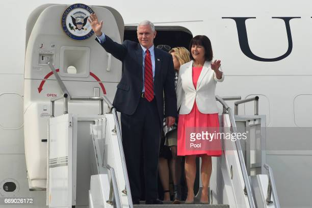 S Vice President Mike Pence and his wife Karen Pence arrive at Osan airbase on April 16 2017 in Seoul South Korea During the three day visit to South...