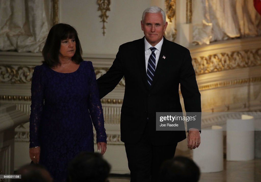 U.S. Vice President Mike Pence and his wife Karen Pence arrive before the start of a news conference held by President Donald Trump and Prime Minister Shinzo Abe hold a news conference at Mar-a-Lago resort on April 18, 2018 in West Palm Beach, Florida. The two leaders are meeting for a multi-day working meeting where they are discussing world events.