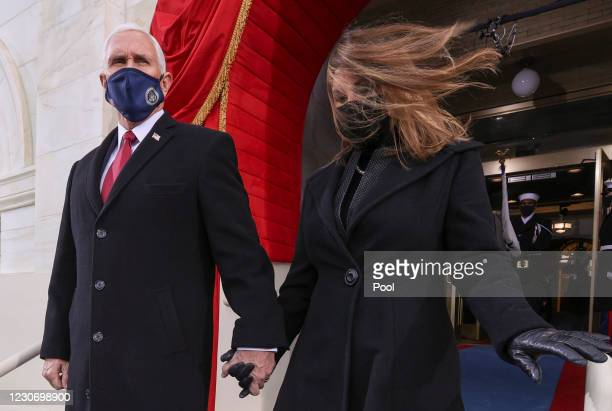 Vice President Mike Pence and his wife Karen Pence arrive for the inauguration of Joe Biden as the 46th President of the United States on the West...