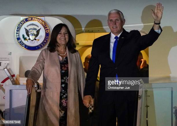 S Vice President Mike Pence and his wife Karen Pence exit Air Force Two upon their arrival at Yokota Air Base on November 13 2018 in Fussa city in...