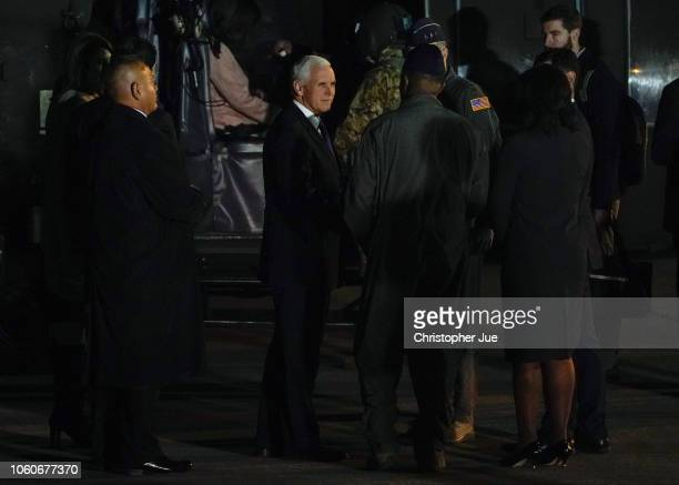 S Vice President Mike Pence and his wife Karen Pence prepare to be transported in a Black Hawk helicopter after arriving at Yokota Air Base on...