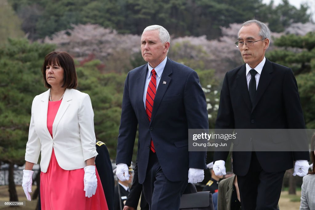U.S. Vice President Mike Pence and his wife Karen Pence visit at Seoul National Cemetery on April 16, 2017 in Seoul, South Korea. During the three day visit to South Korea, Vice President Pence will spend Easter Sunday with the U.S. and S. Korean troops and their families. He will also meet with Korea's acting president Hwang Kyo-ahn, the national assembly speaker Chung Sye-kyun and local business leaders.