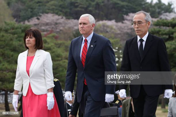 S Vice President Mike Pence and his wife Karen Pence visit at Seoul National Cemetery on April 16 2017 in Seoul South Korea During the three day...