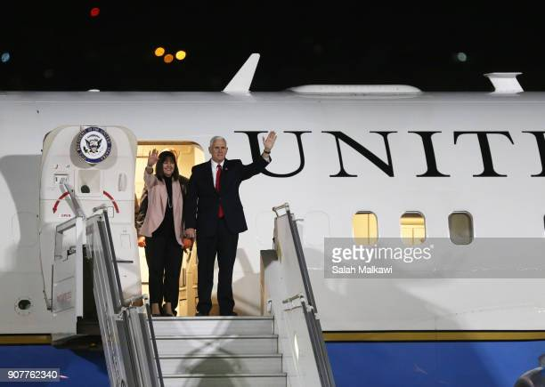 S Vice President Mike Pence and his wife Karen Pence wave as they arrive at Marka airport onJanuary 20 in Amman Jordan Pence is on a Middle East tour...