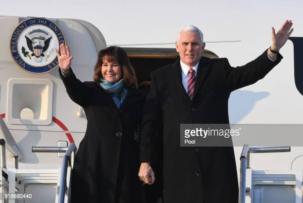 S Vice President Mike Pence and his wife Karen Pence wave upon arriving at the Osan Air Base on February 8 2018 in Pyeongtaek South Korea Vice...