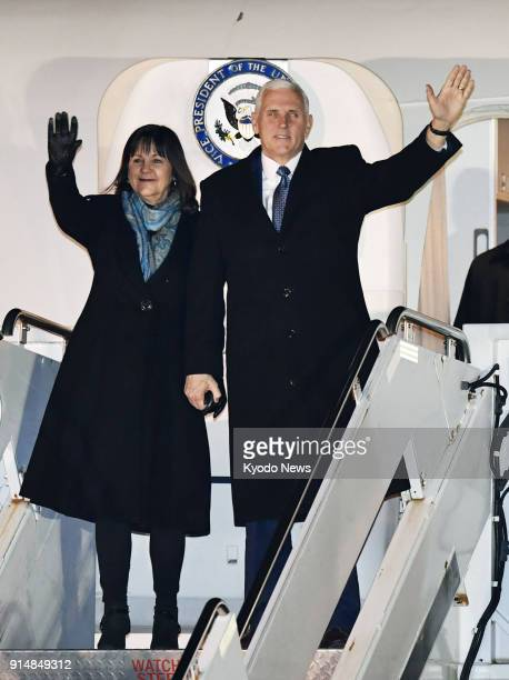 US Vice President Mike Pence and his wife Karen wave after arriving at Yokota Air Base in a Tokyo suburb on Feb 6 2018 ==Kyodo