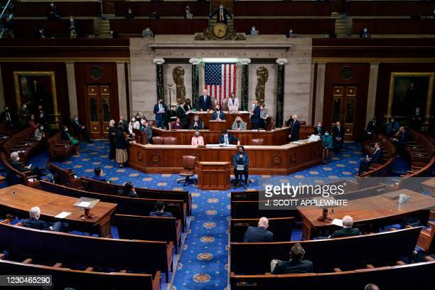 Vice President Mike Pence and House Speaker Nancy Pelosi preside over a Joint session of Congress to certify the 2020 Electoral College results after...