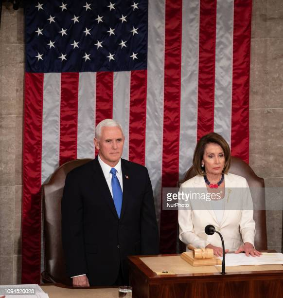 Vice President Mike Pence and House Speaker Nancy Pelosi wait for the arrival of US President Donald Trump before his second State of the Union...