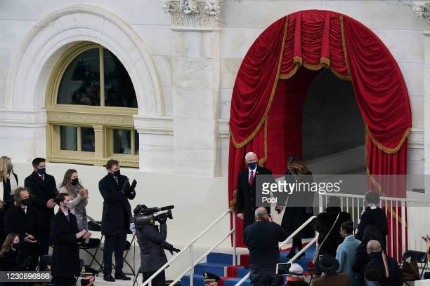 Vice President Mike Pence and Karen Pence arrive at the inauguration of U.S. President-elect Joe Biden on the West Front of the U.S. Capitol on...