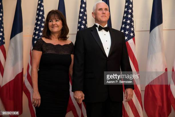 Vice President Mike Pence and Karen Pence arrive at the White House for a state dinner April 24, 2018 in Washington, DC . President Donald Trump is...