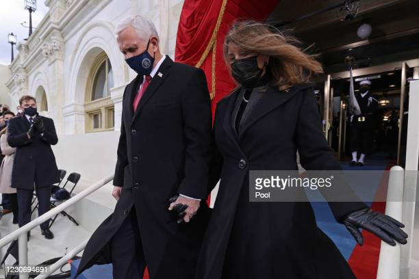 Vice President Mike Pence and Karen Pence arrive before the inauguration of U.S. President-elect Joe Biden on the West Front of the U.S. Capitol on...