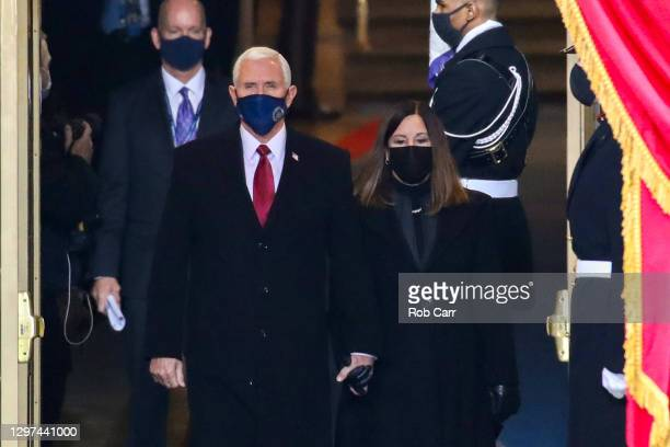 Vice President Mike Pence and Karen Pence arrives at the inauguration of U.S. President-elect Joe Biden on the West Front of the U.S. Capitol on...