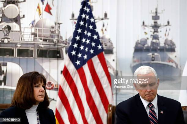 S Vice President Mike Pence and Karen Pence have a meeting with Fred Warmbier the father of Otto warmbier who was imprisoned in North Korea for 17...