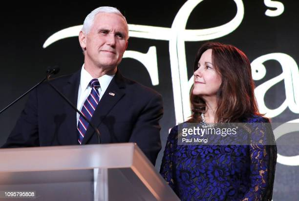 Vice President Mike Pence and Karen Pence speak at the Save the Storks 2nd Annual Stork Charity Ball at the Trump International Hotel on January 17,...