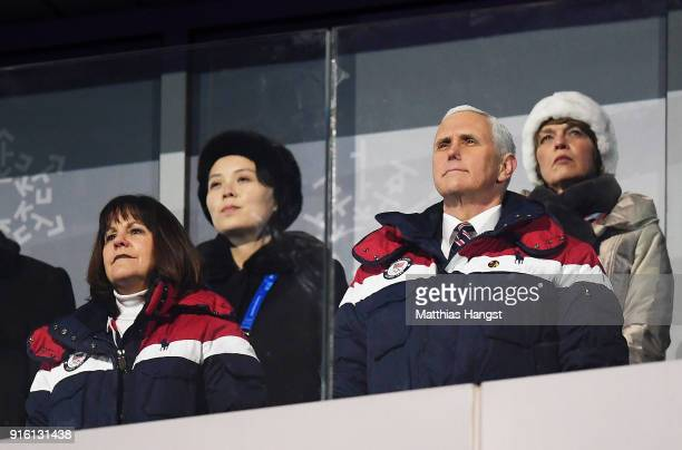 S Vice President Mike Pence and North Korean Leader Kim Jong Un's sister Kim YoJong watch on during the Opening Ceremony of the PyeongChang 2018...