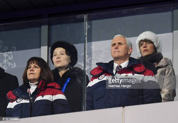 S Vice President Mike Pence and North Korean Leader Kim Jong Un's sister Kim Yo Jong watch on during the Opening Ceremony of the PyeongChang 2018...