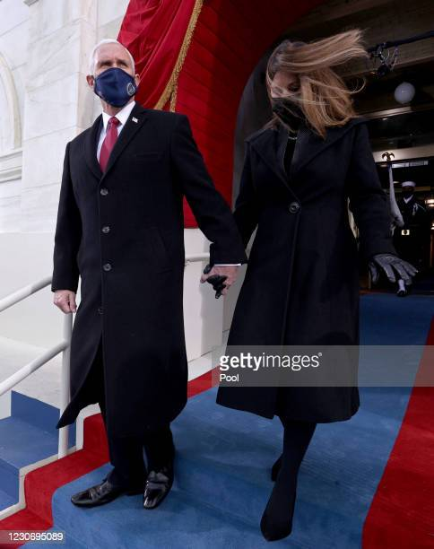 Vice President Mike Pence and second lady Karen Pence arrive at the inauguration of U.S. President-elect Joe Biden on the West Front of the U.S....