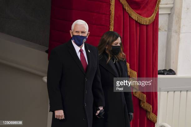 Vice President Mike Pence and Second Lady Karen Pence arrive at the inauguration on the West Front of the U.S. Capitol on January 20, 2021 in...