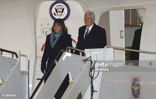 US Vice President Mike Pence and Second Lady Karen Pence exit Air Force Two as they arrive at US Yokota Air Base in Fussa Tokyo Metropolis Japan on...
