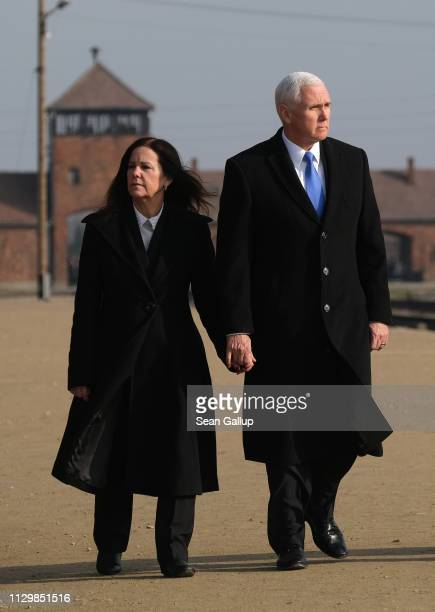 Vice President Mike Pence and Second Lady Karen Pence visit the Auschwitz-Birkenau concentration camp memorial on February 15, 2019 in Oswiecim,...