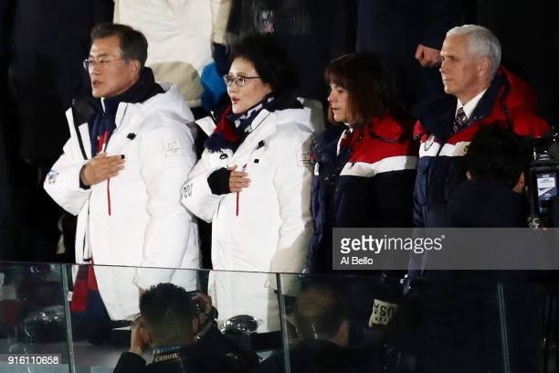 S Vice President Mike Pence and South Korea president Moon Jaein during the Opening Ceremony of the PyeongChang 2018 Winter Olympic Games at...