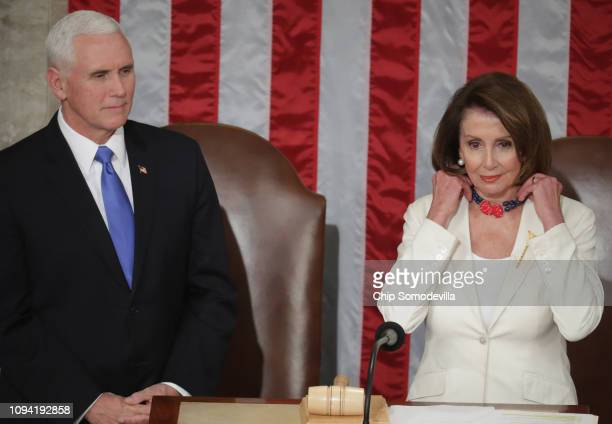 Vice President Mike Pence and Speaker of the House Nancy Pelosi look on ahead of the State of the Union address in the chamber of the US House of...