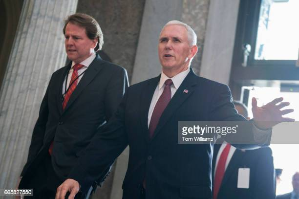 Vice President Mike Pence and White House counsel Don McGahn arrive in the Capitol on the day the Senate voted to confirm Neil Gorsuch as the next...